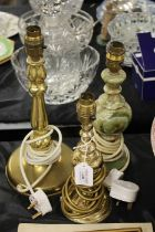 Two brass reading lamps, onyx reading lamp (3)