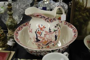 Royal Venton Ware John Stevenson & Sons Ltd jug and washbowl, decorated with oriental figures in a