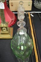 Hobnail cut glass decanter, two glass candlesticks, oval green glass bowl (4)