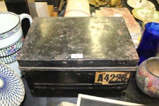 Black painted metal deed box, with turquoise painted interior, together with key, 38cm wide