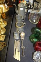 Quantity of pewter and plated ware, to include a coffee pot, two tankards, pair of knife rests,