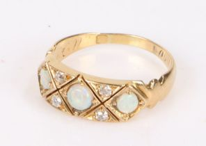 Victorian mourning ring, set with opals and diamonds to the head, an inscription to the shank