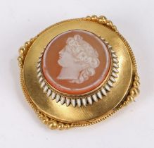 Neoclassical gold brooch, with central cameo depicting a classical female bust in profile,