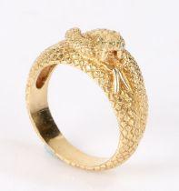 Gold snake ring with small diamond set eyes, ring size V, 11.8g