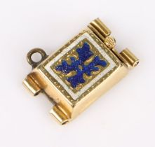 gold, blue and white enamel decorated clasp, 16mm wide, 10mm high, 12.5mm high including loop, 2.8g