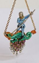 Ruby, pearl and enamel pendant, with depiction of St George slaying the dragon, above a ruby and