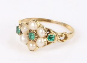 George III emerald and pearl set ring, the head formed as a flower with central emerald and pearl