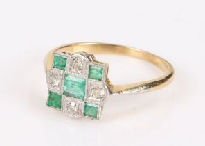 Emerald and diamond set gold ring, the head set with five emeralds and four diamonds in a chequer