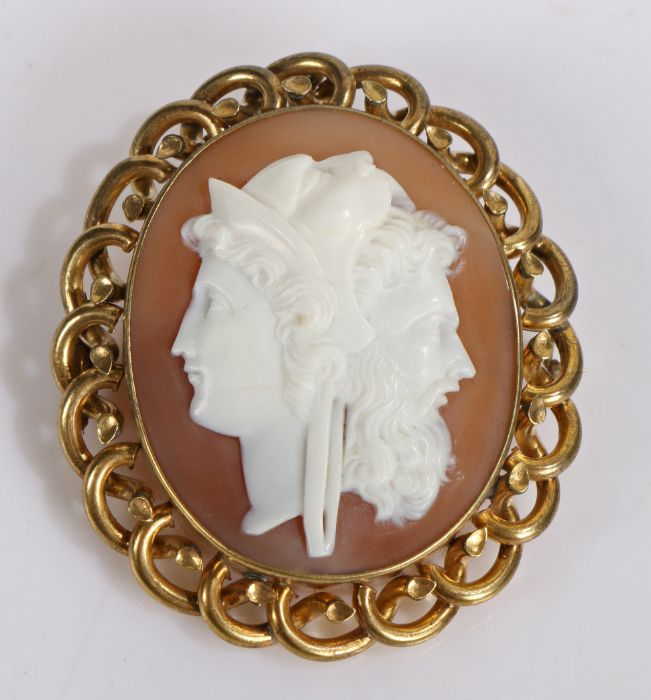 Fine and unusual Victorian cameo brooch, carved to form a bearded head a female head, a Leopard