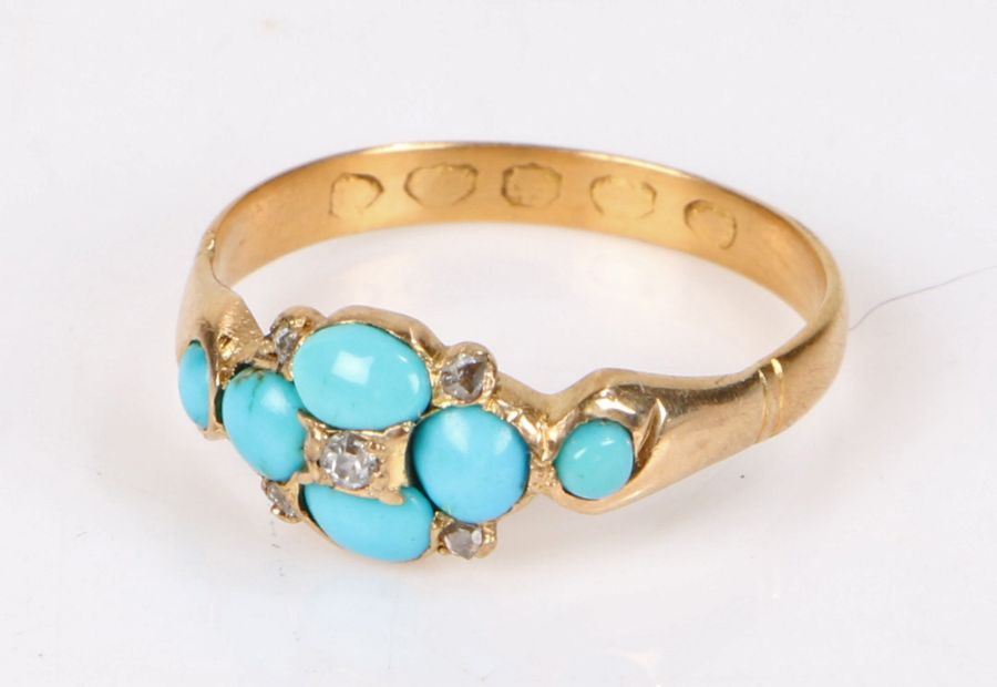 19th Century diamond and turquoise set ring, the central diamond with a turquoise surround, gross