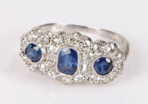 Sapphire and diamond set ring, with an estimated total of 1.38 carats of sapphires and an