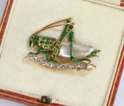 Demantoid Garnet , diamond and mother of pearl and brooch in the form of a grasshopper, 33mm wide,