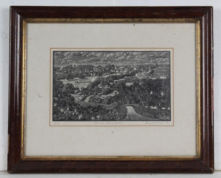 David Birch, original hand printed wood engraving, Ebrington Gloucestershire, limited edition number