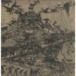 Oscar Laske, Noah's Arc, pencil signed aquatint, 18cm x 18cm