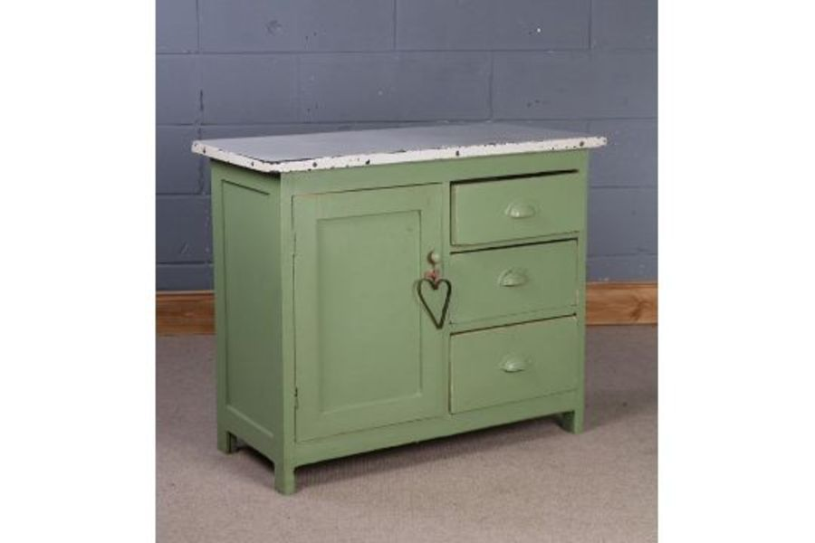 1960's/70's kitchen cupboard, having white enamel top above a single door and three short drawers,