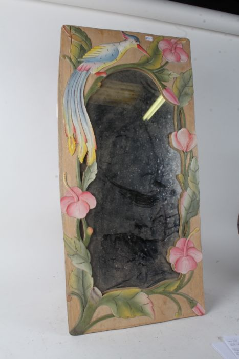 Two carved wooden and painted mirrors, both with brightly painted borders with birds and flowers, - Image 2 of 2