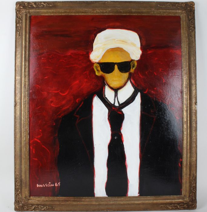 20th century, oil on board portrait, figure wearing sunglasses and a black suit, signed Hussein