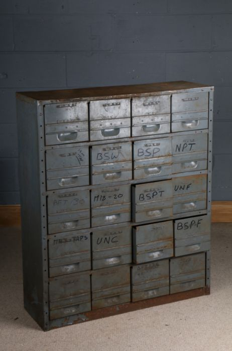 Set of engineers metal drawers, fitted with twenty drawers, 89.5cm wide x 106cm high
