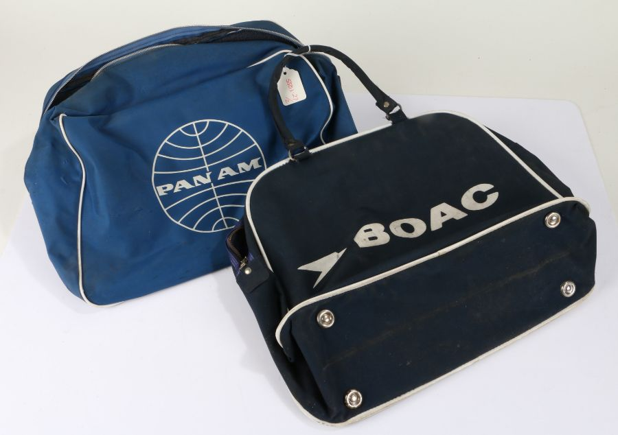 Pan Am advertising travel bag, in blue, and a BOAC bag (2)