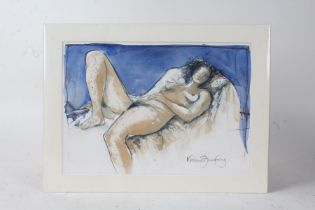 Valerie Armstrong, watercolour and inktense crayon, study of a reclining nude, unframed, 33.5cm wide