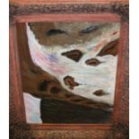 20th century school, study of a waterfall, unsigned oil on board, housed within an ornate painted