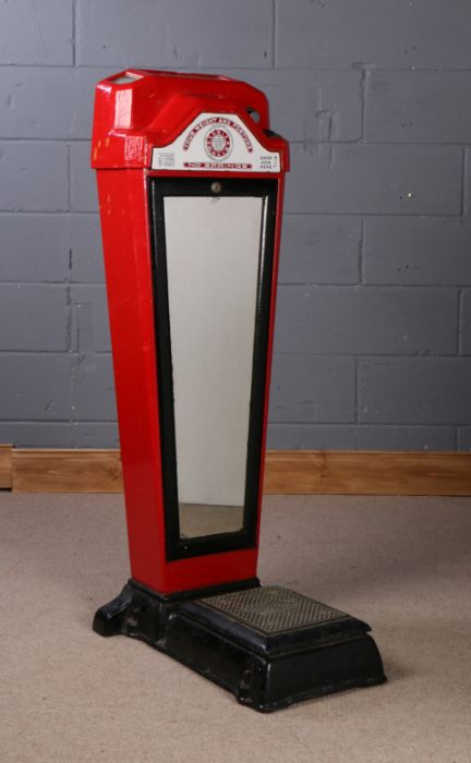 1930's Weight and Fortune scale, manufactured by Watling Scale Co. Chicago U.S.A, with red painted