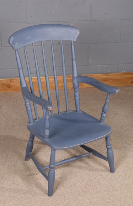 20th Century painted spindle back chair, with shaped arms, 94cm high and 52cm wide