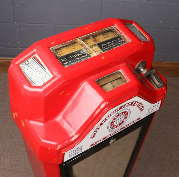 1930's Weight and Fortune scale, manufactured by Watling Scale Co. Chicago U.S.A, with red painted - Image 2 of 2
