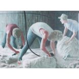 Alan Stones, pencil signed coloured print 'Shearers', numbered 81/100, signed and dated 1985 to