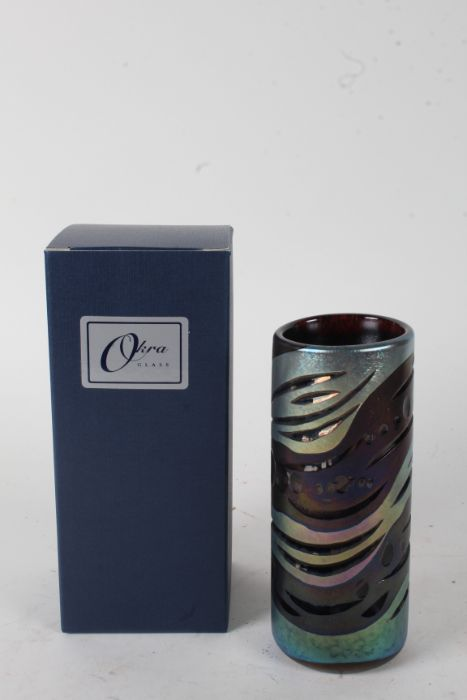 Okra, a Dean Hopkins cut cylinder glass vase, with aventurine decoration, signed to base, dated - Image 2 of 2
