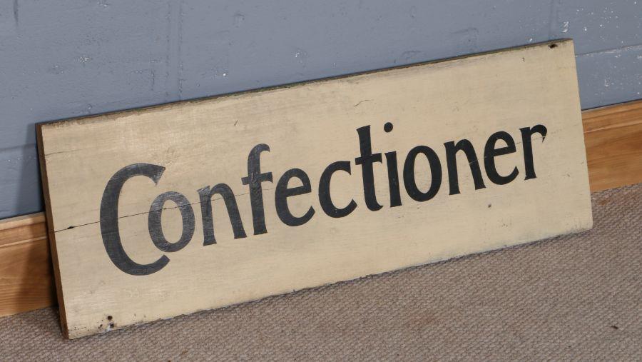 20th Century Confectioner painted shop sign, 29cm x 86cm