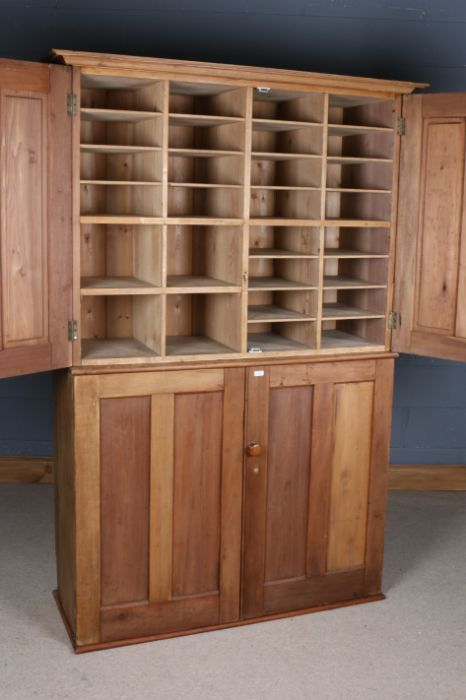 George V period ex-government pine haberdashery cupboard, by Higgs & Hill Ltd., the panelled doors - Image 2 of 3