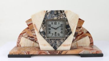 Art Deco French marble mantel clock, having silvered dial with arabic numerals, 51.5cm wide