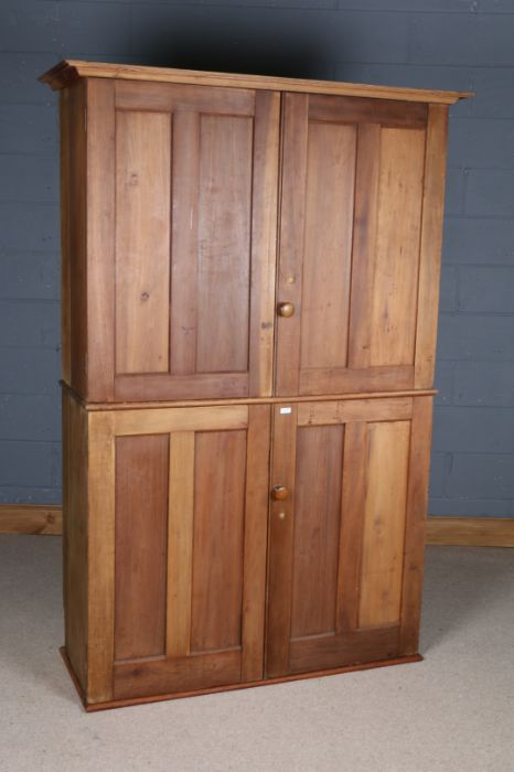 George V period ex-government pine haberdashery cupboard, by Higgs & Hill Ltd., the panelled doors