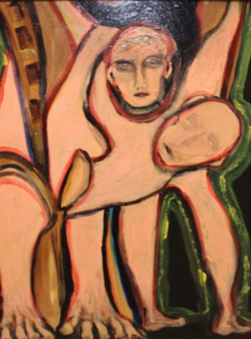 20th century school, abstract study of two figures, unsigned oil on board, housed within a gilt