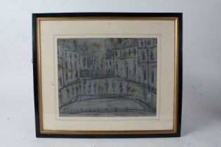 Manner of Lowry, figures in a street, pencil drawing, bears signature, housed within an ebonised and