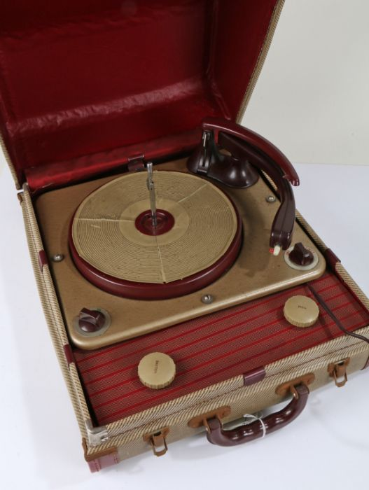 Mid 20th century portable record player, housed within a carrying case