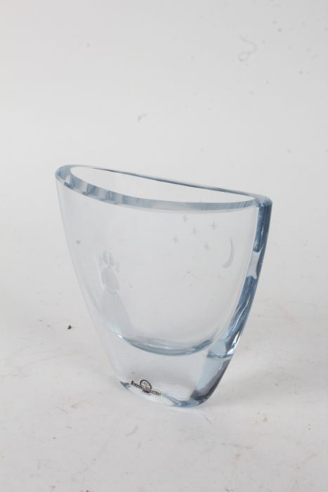 Strombergshyttan Swedish glass vase, decorated with a girl to one side and the moon and stars to the