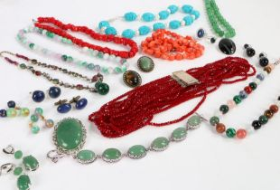 Collection of costume Jewellery to include white metal rings of various sizes, necklaces and