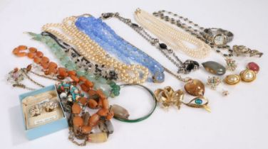 Collection of costume jewellery to include synthetic pearl necklaces and various other necklaces,