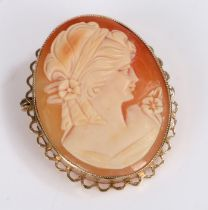 9 Carat Gold Cameo Brooch depicting a lady, made by E.J.CY& Co, gross weight 7.7g