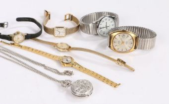 Wristwatches to include Montine, Timex, Clartex, Seiko, Sekonda, Philip Mercier fob watch (7)