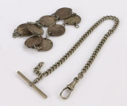 Coin bracelet made out of sixpences, gross weight 26.2g together with a metal pocket watch chain (