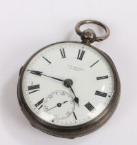 Victorian silver open face pocket watch by J.W. Benson London, the signed white enamel dial with
