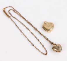 9 Carat Gold heart together with a yellow metal heart locket, gross weight 6.0g