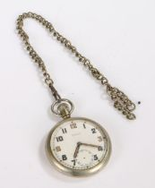 Damas World War II open face pocket watch, the white dial with Arabic numerals and subsidiary