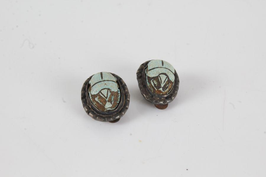 Egyptian revival Scarab beetle clip on earrings (2)