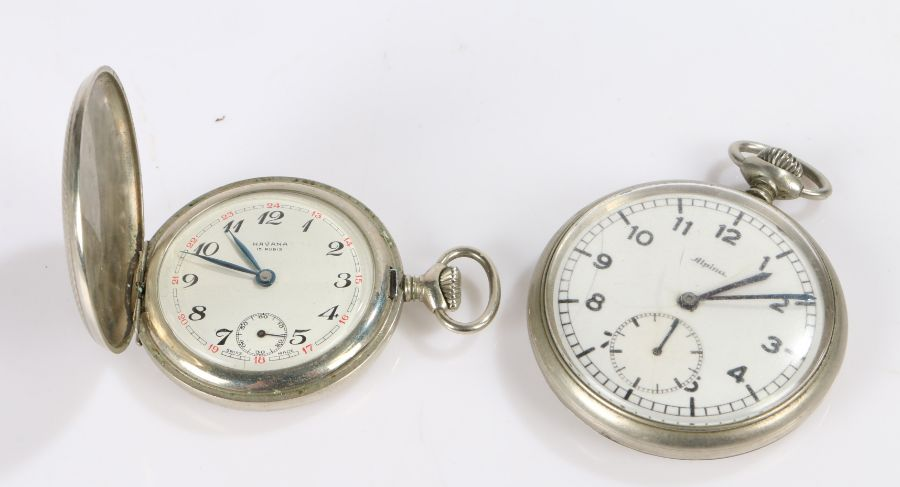 Havana hunter pocket watch, the engine turned case with vacant cartouche, the signed dial with