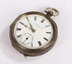 Victorian silver open face pocket watch by Fattorini & Sons Bradford, the signed white enamel dial