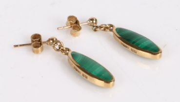 Pair of 9 Carat Gold earrings set with a Malachite, gross weight 3.9g